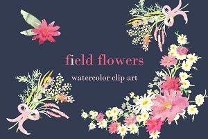 Field Flowers watercolor clip art