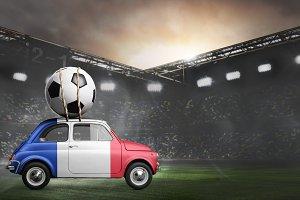 France car on football stadium
