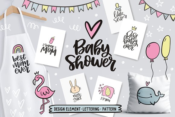 Baby Shower Lettering And Cliparts
