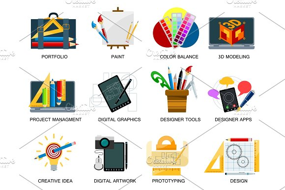 Creativity Icons Imagination Vector Illustration Abstract Colorful Flat Creative Process Design Development Elements