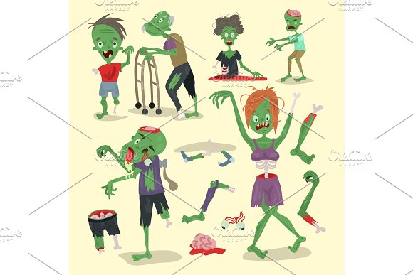 Colorful Zombie Scary Cartoon Elements Halloween Magic People Body Fun Group Cute Green Character Part Monsters Vector Illustration