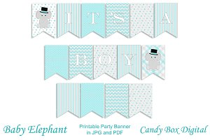 Boy Baby Elephant Party Banner