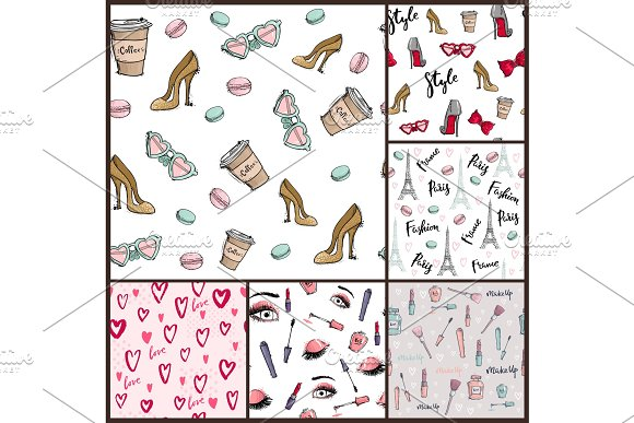 Fashion Cosmetics Accessories Seamless Pattern Vector Colors Bright Pink Stylish Fashioned Vintage Motive Pastel Illustration