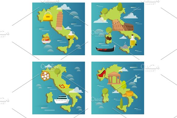 Italy Travel Map Vector Attraction Tourist Symbols Sightseeing World Italian Architecture Elements Illustration