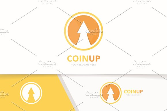 Vector Coin And Arrow Up Logo Combination Money And Growth Symbol Or Icon Unique Cash And Upload Logotype Design Template