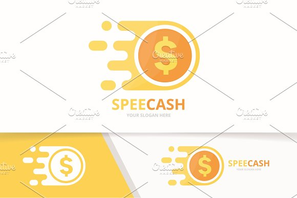Vector Fast Coin Logo Combination Speed Money Symbol Or Icon Unique Cash And Digital Logotype Design Template