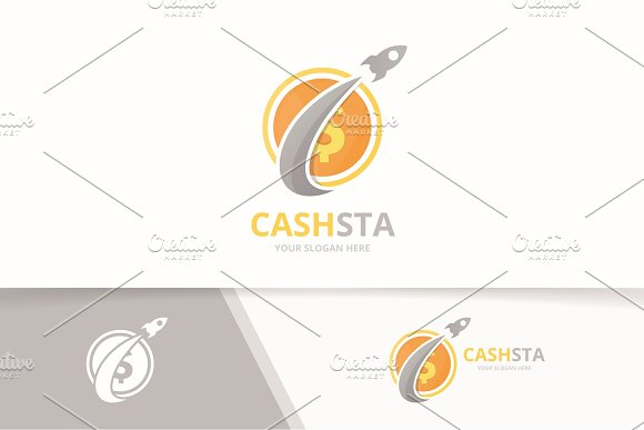 Vector Coin And Rocket Logo Combination Money And Airplane Symbol Or Icon Unique Cash And Flight Logotype Design Template