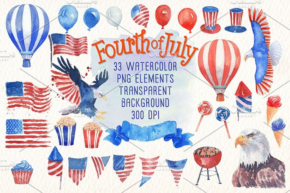 Fourth Of July Watercolor Clipart