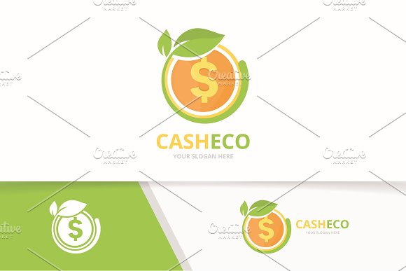 Vector Coin And Leaf Logo Combination Money And Eco Symbol Or Icon Unique Cash And Organic Logotype Design Template