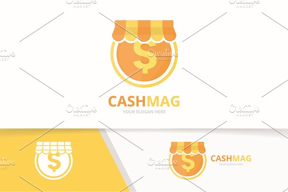 Vector Coin And Shop Logo Combination Money And Sale Symbol Or Icon Unique Cash And Market Logotype Design Template