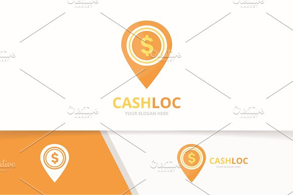 Vector Coin And Map Pointer Logo Combination Money And Gps Locator Symbol Or Icon Unique Cash And Pin Logotype Design Template