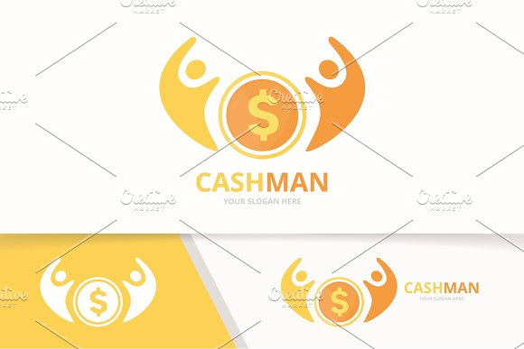 Vector Coin And People Logo Combination Money And Family Symbol Or Icon Unique Cash And Union Help Connect Team Logotype Design Template