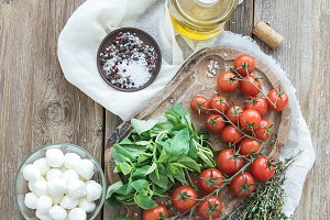 Basil, tomatoes, mozzarella...