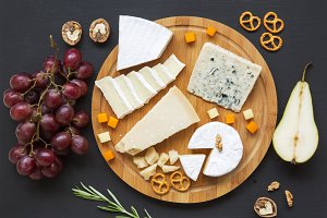 Cheese plate. Assorted cheeses with