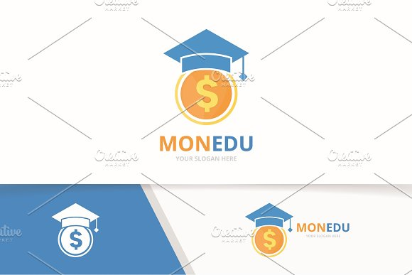 Vector Graduate Hat And Coin Logo Combination Study And Money Symbol Or Icon Unique Cash And College Logotype Design Template
