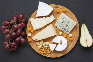 Cheese plate. Assorted cheeses