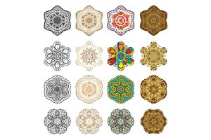 Set of Flower Mandala. Vintage decor