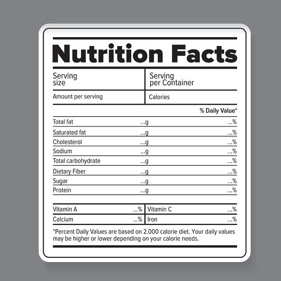 nutrition facts vector label objects creative market. Black Bedroom Furniture Sets. Home Design Ideas