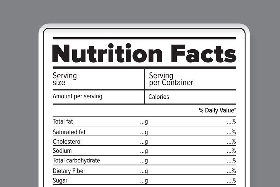 Nutrition facts vector label | Custom