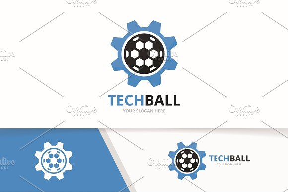 Vector Soccer And Gear Logo Combination Ball And Mechanic Symbol Or Icon Unique Football And Industrial Logotype Design Template