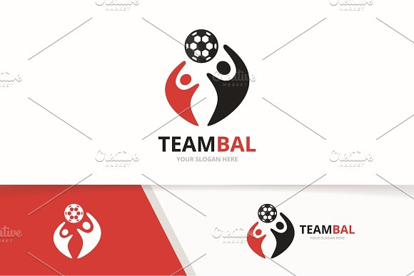 Vector Soccer And People Logo Combination Ball And Family Symbol Or Icon Unique Football And Union Help Connect Team Logotype Design Template