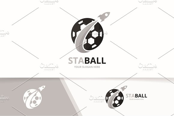 Vector Soccer And Rocket Logo Combination Ball And Airplane Symbol Or Icon Unique Football And Flight Logotype Design Template