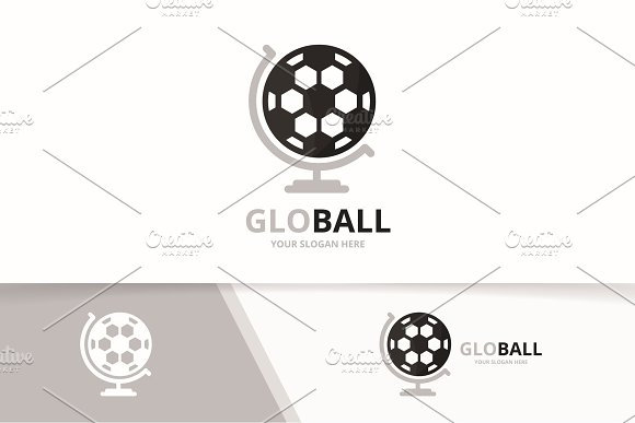 Vector Soccer And Globe Logo Combination Ball Planet Symbol Or Icon Unique Football Logotype Design Template