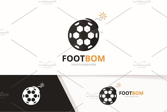 Vector Soccer And Bomb Logo Combination Ball And Detonate Symbol Or Icon Unique Football And Weapon Logotype Design Template