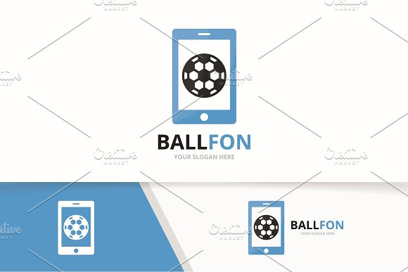 Vector Soccer And Phone Logo Combination Ball And Mobile Symbol Or Icon Unique Football And Device Logotype Design Template