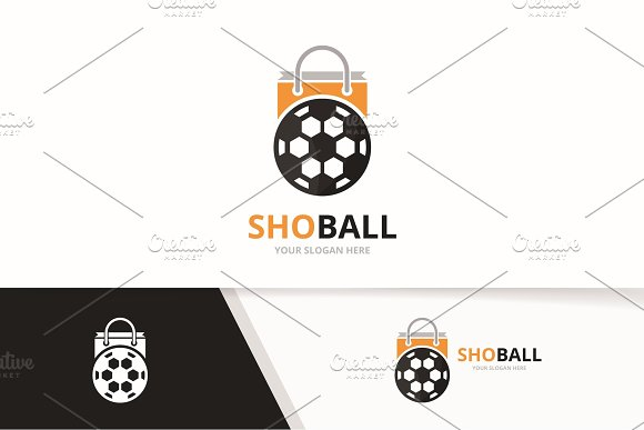 Vector Soccer And Shop Logo Combination Ball And Sale Symbol Or Icon Unique Football And Market Logotype Design Template