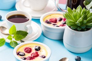 Traditional french sweet fruit dessert clafoutis