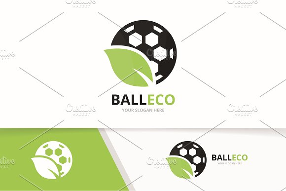 Vector Soccer And Leaf Logo Combination Ball And Eco Symbol Or Icon Unique Football And Organic Logotype Design Template