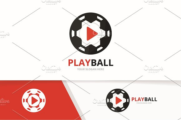Vector Button Play And Soccer Logo Combination Record And Ball Symbol Or Icon Unique Connect And Football Logotype Design Template