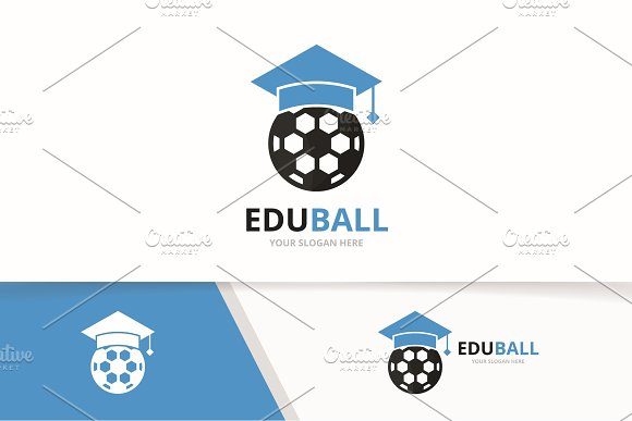 Vector Graduate Hat And Soccer Logo Combination Study And Ball Symbol Or Icon Unique Football College Logotype Design Template