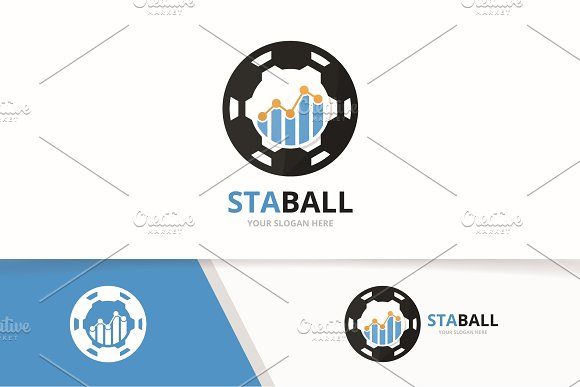 Vector Graph And Soccer Logo Combination Diagram And Ball Symbol Or Icon Unique Chart And Football Logotype Design Template