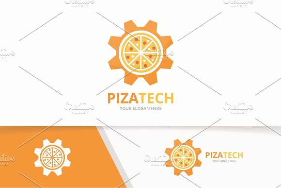 Vector Pizza And Gear Logo Combination Food And Mechanic Symbol Or Icon Unique Pizzeria And Industrial Logotype Design Template