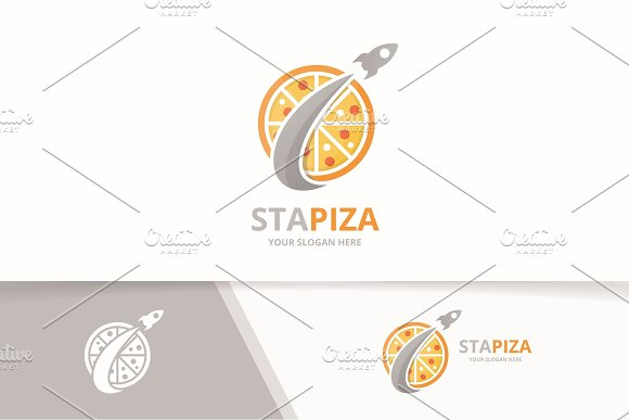 Vector Pizza And Rocket Logo Combination Food And Airplane Symbol Or Icon Unique Pizzeria And Flight Logotype Design Template