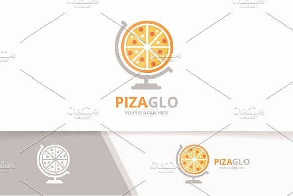 Vector Pizza And Globe Logo Combination Food Planet Symbol Or Icon Unique Pizzeria Logotype Design Template