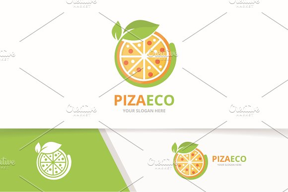 Vector Pizza And Leaf Logo Combination Food And Eco Symbol Or Icon Unique Pizzeria And Organic Logotype Design Template