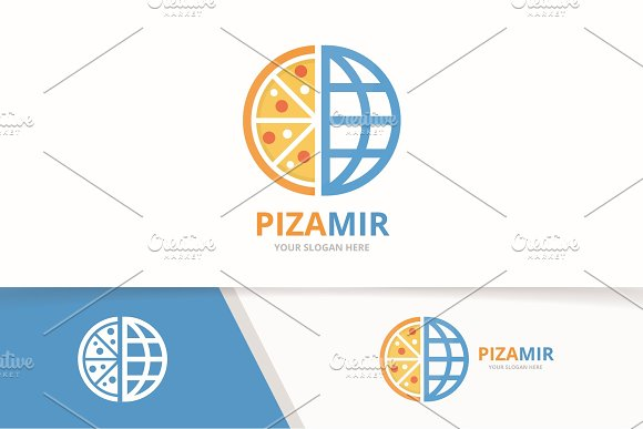 Vector Pizza And Planet Logo Combination Food And World Symbol Or Icon Unique Pizzeria And Globe Logotype Design Template