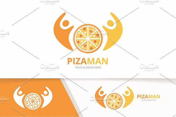 Vector Pizza And People Logo Combination Food And Family Symbol Or Icon Unique Pizzeria And Union Help Connect Team Logotype Design Template