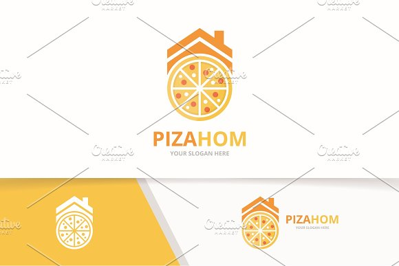Vector Pizza And Real Estate Logo Combination Food And House Symbol Or Icon Unique Pizzeria And Rent Logotype Design Template