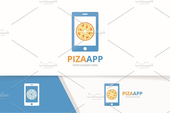 Vector Pizza And Phone Logo Combination Food And Mobile Symbol Or Icon Unique Pizzeria And Device Logotype Design Template