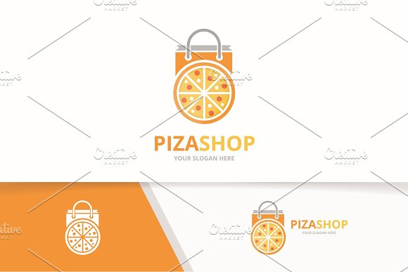 Vector Pizza And Shop Logo Combination Food And Sale Symbol Or Icon Unique Pizzeria And Market Logotype Design Template