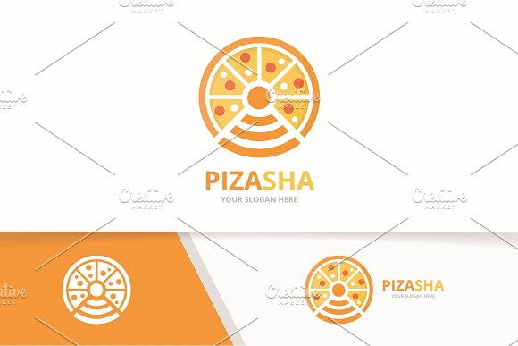 Vector Pizza And Wifi Logo Combination Food And Signal Symbol Or Icon Unique Pizzeria And Radio Internet Logotype Design Template