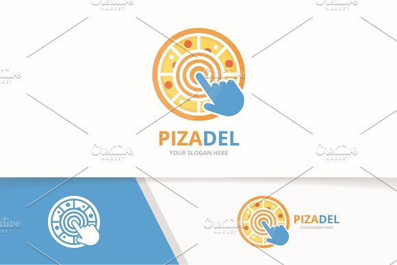 Vector Pizza And Click Logo Combination Food And Cursor Symbol Or Icon Unique Pizzeria And Digital Logotype Design Template