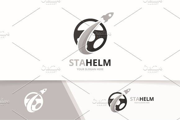 Vector Car Helm And Rocket Logo Combination Steering Wheel And Airplane Symbol Or Icon Unique Rudder And Flight Logotype Design Template