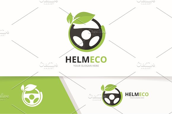 Vector Car Helm And Leaf Logo Combination Steering Wheel And Eco Symbol Or Icon Unique Rudder And Organic Logotype Design Template