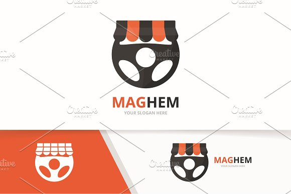 Vector Car Helm And Shop Logo Combination Steering Wheel And Sale Symbol Or Icon Unique Rudder And Market Logotype Design Template