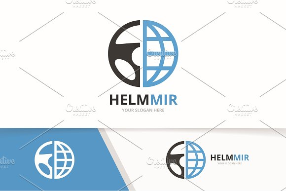 Vector Car Helm And Planet Logo Combination Steering Wheel And World Symbol Or Icon Unique Rudder And Globe Logotype Design Template